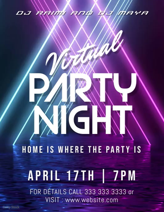 party night Flyer (US-Letter) template