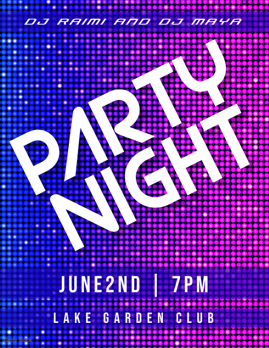 party night Pamflet (Letter AS) template
