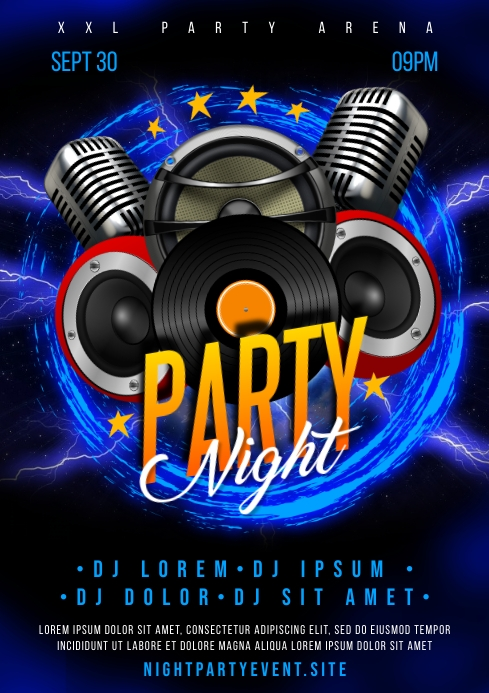 PARTY NIGHT POSTER A4 template