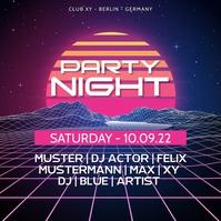 Party Night Retro Advert Neon Event Disco Oldies 90s 80s