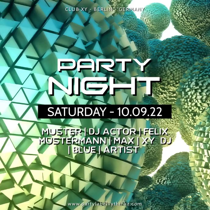 Party Night Video Advert Abstract Balls Disco Club Bar