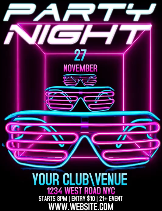 PARTY NIGHT VIDEO Flyer (Letter pang-US) template