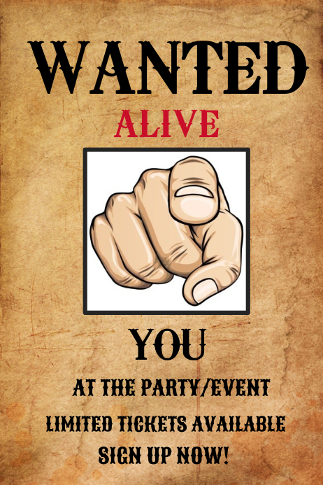 Party or Event Wanted Poster Template | PosterMyWall