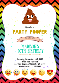 Party pooper birthday party invitation