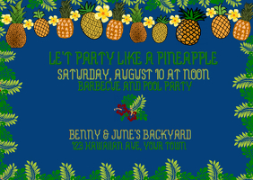 Party with Pineapple banner blue background Postal template