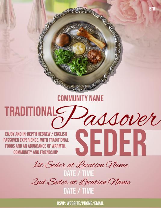 Passover Seder Løbeseddel (US Letter) template