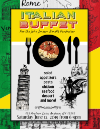 Pasta Dinner Italian Buffet for fundraiser Flyer Template