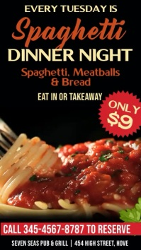 Pasta Dinner Night Digital Signage Promo