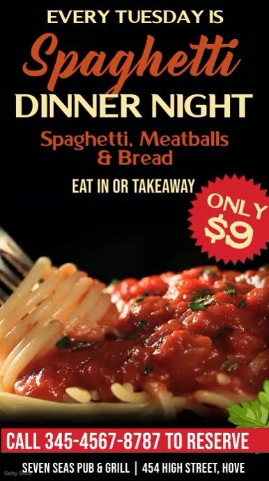 Pasta Dinner Night Digital Signage Promo