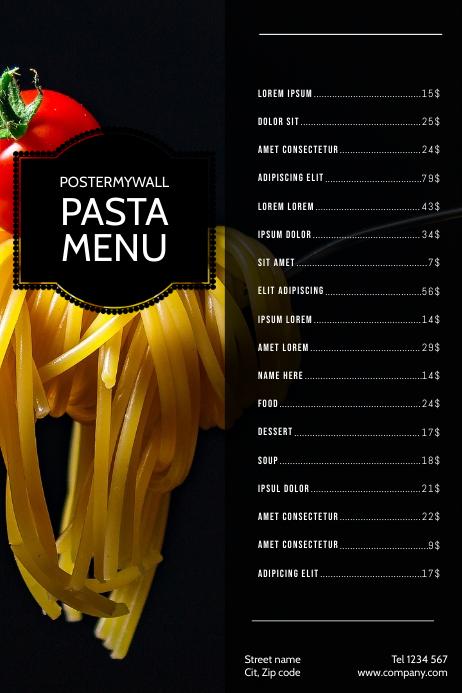 Pasta Italian Food Menu Design Template Postermywall
