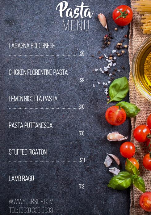 Pasta menu table a4 template