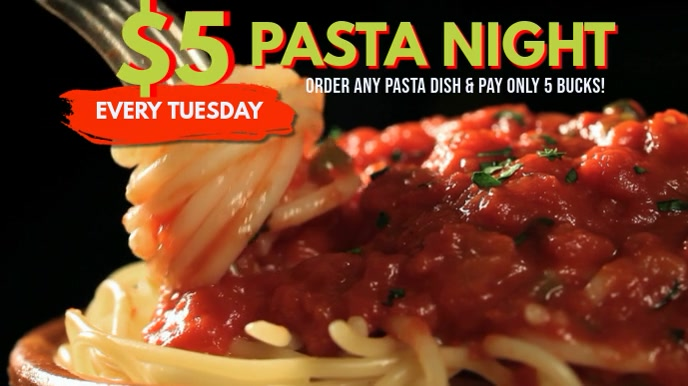 Pasta Restaurant Video Ad Template Pantalla Digital (16:9)