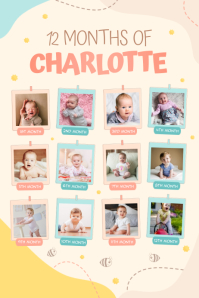 Pastel 1st year of life poster template