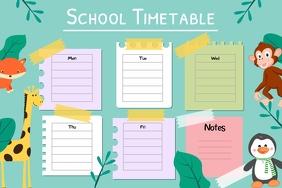 Pastel Animal Themed School Timetable Landsc
