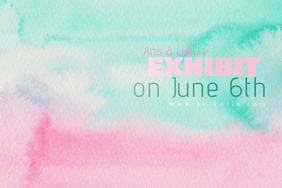 Pastel Blue Pink Paint Simple Modern Event Club Venue Art