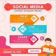 Pastel Colored Cartoon Social Media Contest I โพสต์บน Instagram template
