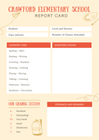 Pastel Elementary School Report Card A4 template