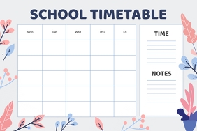 Pastel Floral Themed School Timetable Poster template
