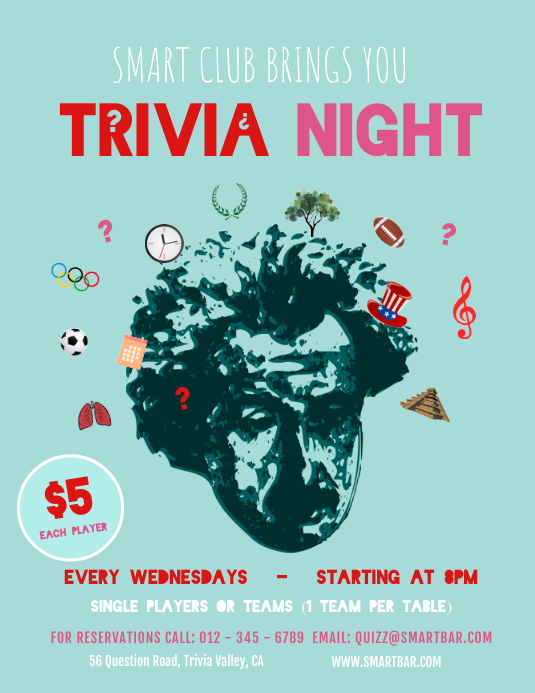 Pastel Green Trivia Night Flyer Template PosterMyWall