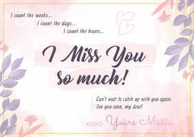 Pastel Miss you Postcard Cartolina template