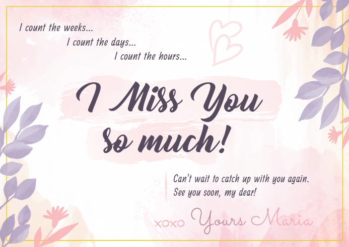 Pastel Miss you Postcard template