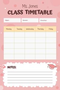 Pastel Peach Class Timetable Portrait Poster