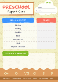 Pastel Pre-School Report Card A4 template