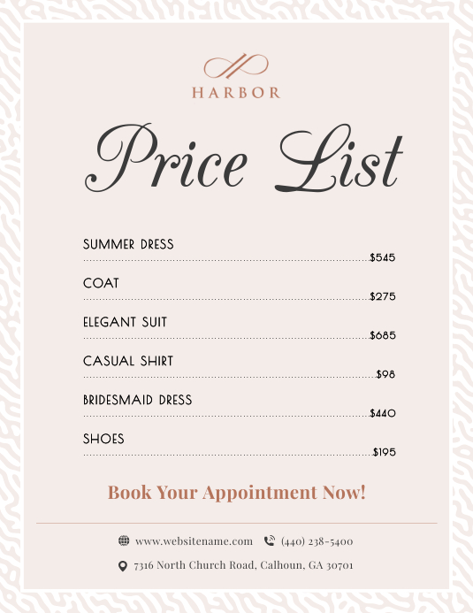 Pastel Price List Flyer Template Ulotka (US Letter)