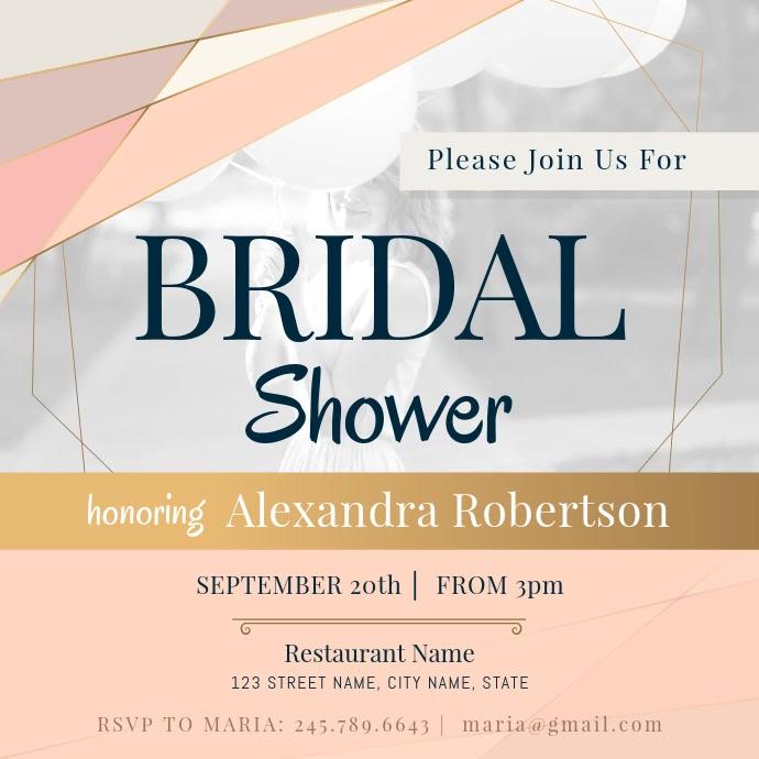 Pastel Themed Bridal Shower Invitation Square
