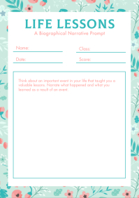 Pastel Themed English Writing Worksheet