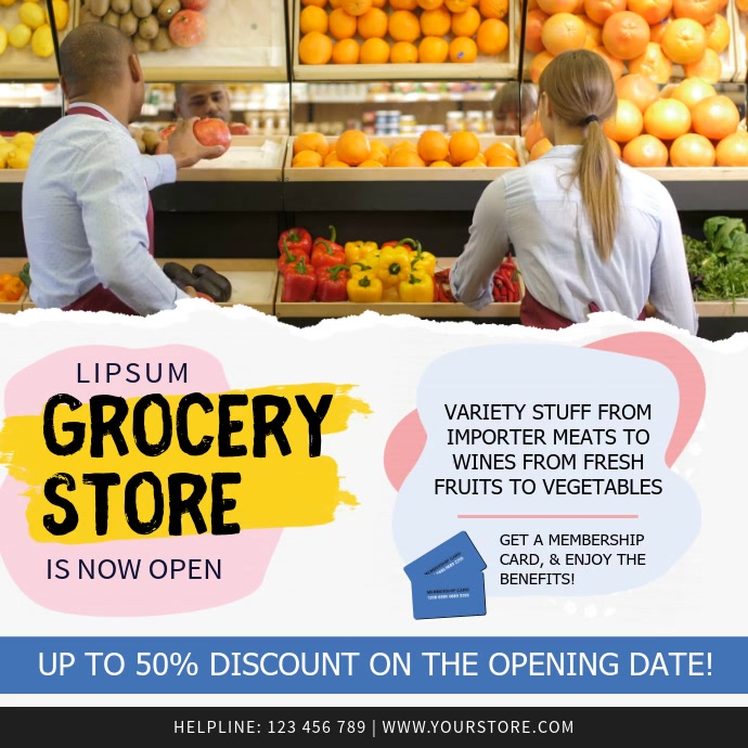 Pastel Themed Grocery Story Ad Square Video