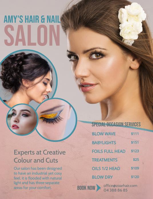 Pastel Themed Hair Salon Price List Flyer template