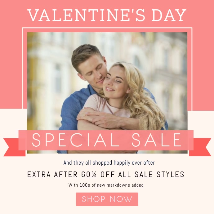 Pastel Themed Valentine Sale Square Video