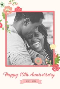 Pastel Themed Wedding Anniversary Poster