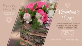 Pastel Valentine's Day Dinner Digital Display Video