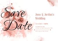 Pastel Watercolor Save The Date Invitation Ca Postcard template