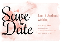 Pastel Watercolor Save The Date Invitation Ca Poskaart template