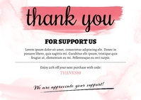 Pastel Watercolor Thank You Card Postcard template