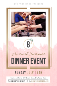 Pastel Watercolor Themed Annual Event Poster