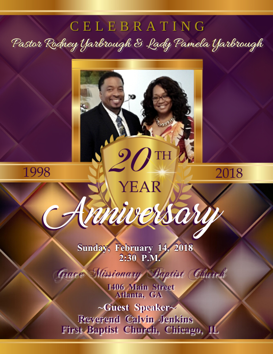 Pastor Anniversary, Church Flyer (US-Letter) template