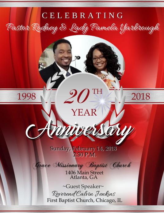 Pastor Anniversary Flyer (format US Letter) template