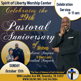 Pastor Anniversary Service Instagram Post template