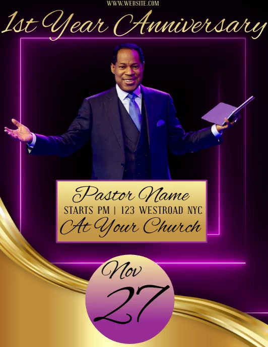 PASTOR FIRST YEAR ANNIVERSARY VIDEO TEMPLATE Flyer (US-Letter)