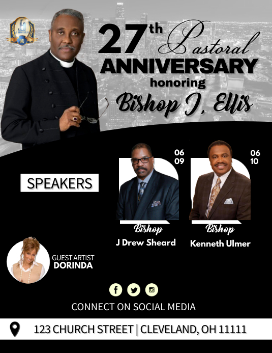 Pastoral Anniversary Pamflet (Letter AS) template