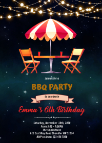 Patio bbq summer soiree party invitation A6 template