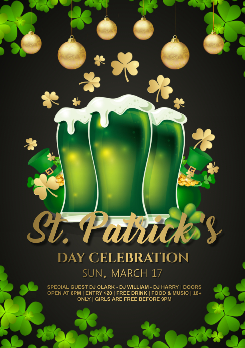 patricks day beer party A4 template