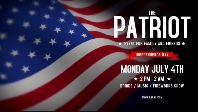 Patriotic 4th Of July Flyer วิดีโอหน้าปก Facebook (16:9) template