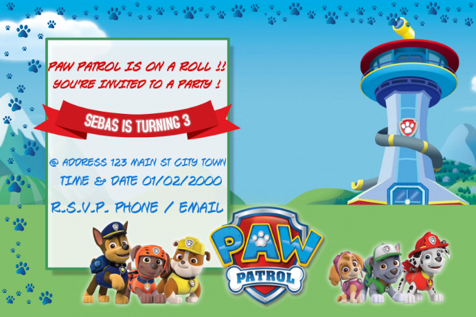 PAW PATROL BIRTHDAY INVITATION Template | PosterMyWall