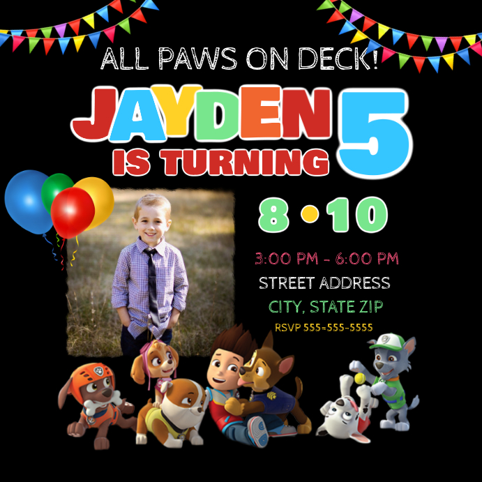 Paw Patrol Birthday Invitation Template Postermywall