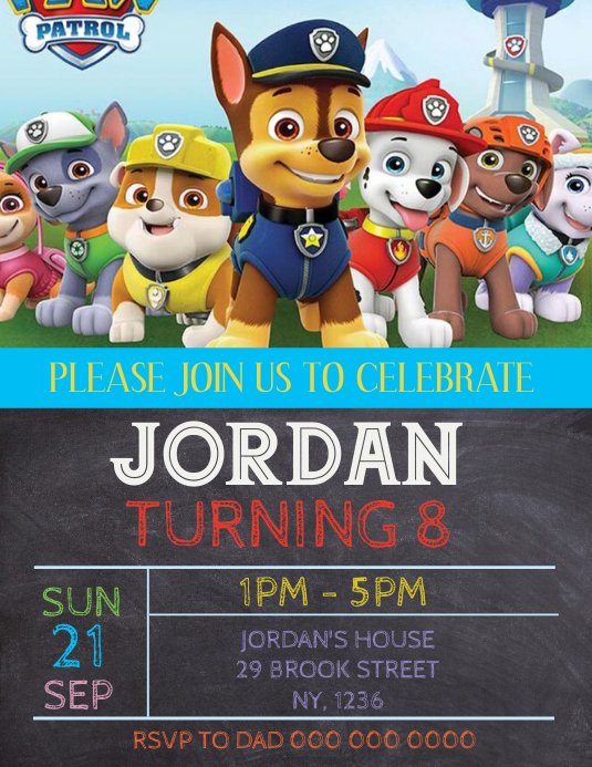 Paw Patrol Birthday Party Invitation Template Flyer (US Letter)